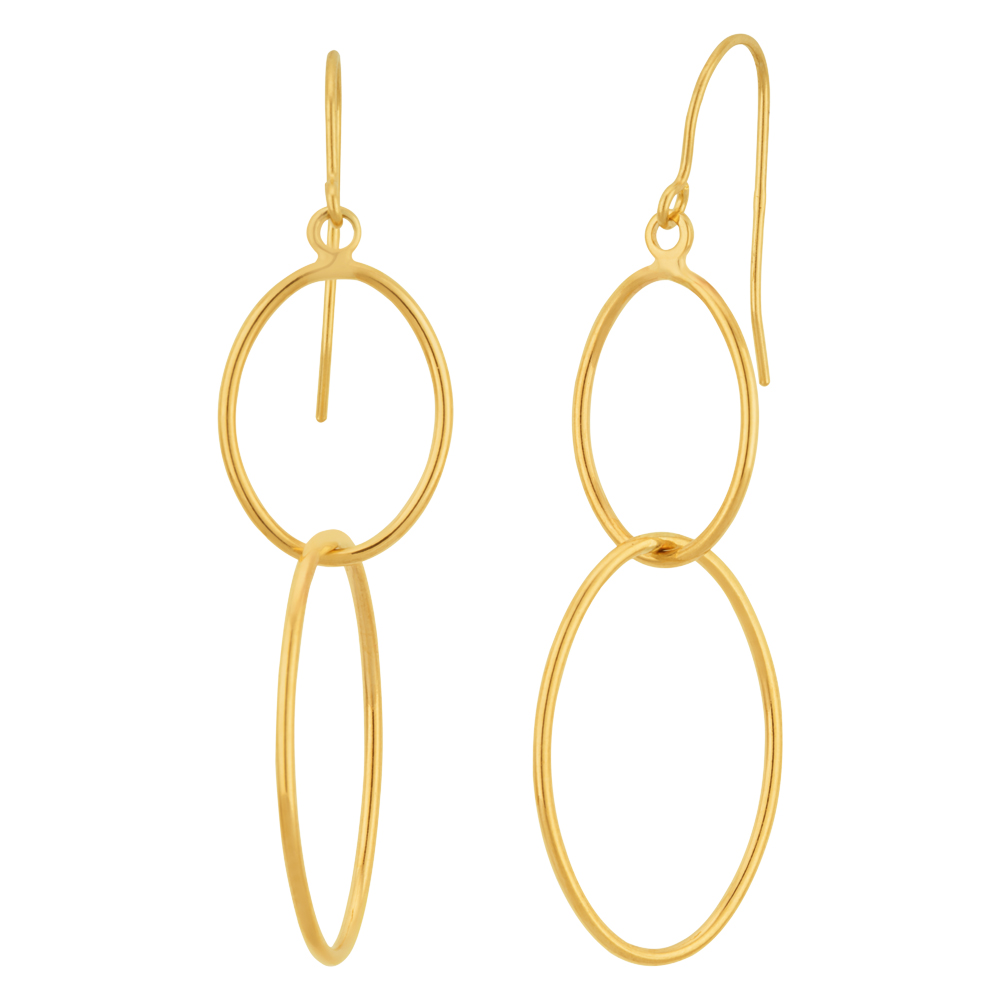 9ct Yellow Gold x2 Oval Hoop Drop Earrings
