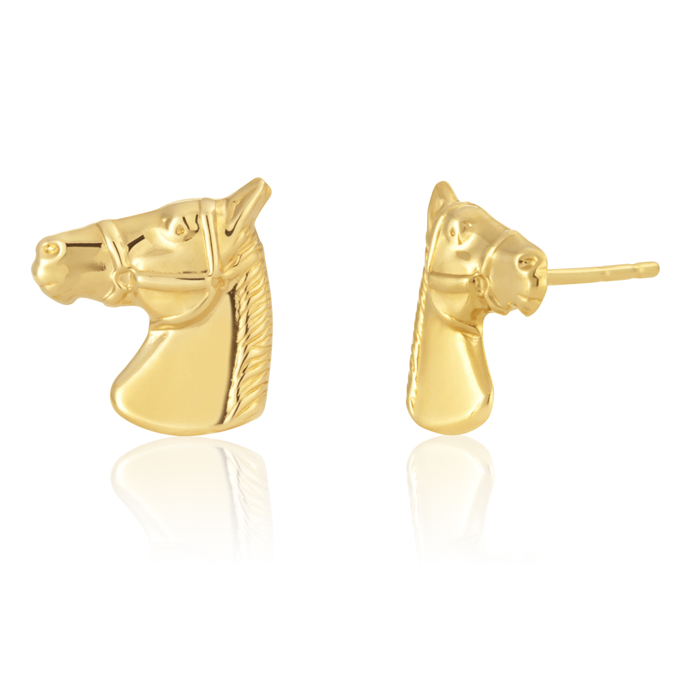 9ct Yellow Gold Horse Stud Earrings