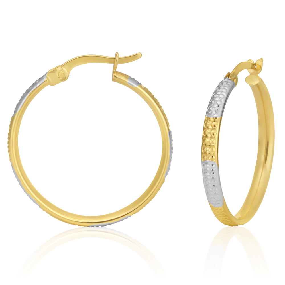 9ct Yellow and White Gold Hoop Earrings