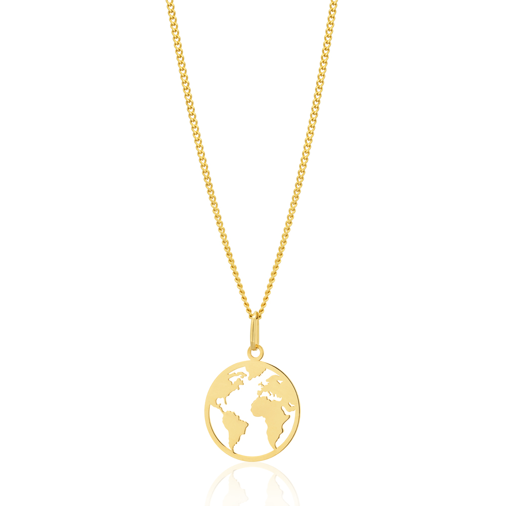 9ct Yellow Gold World Map Disc Cutout Pendant