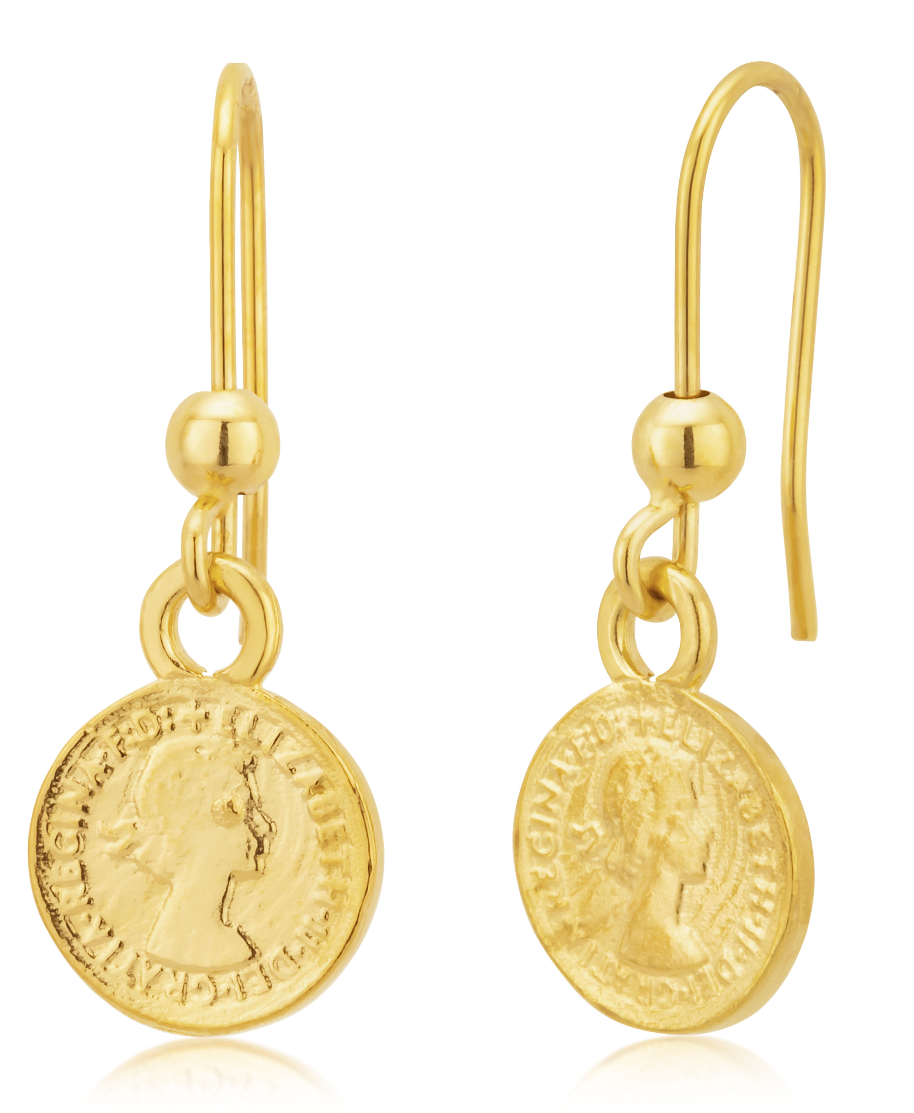 9ct Yellow Gold Sovereign Coin Drop Hook Earrings