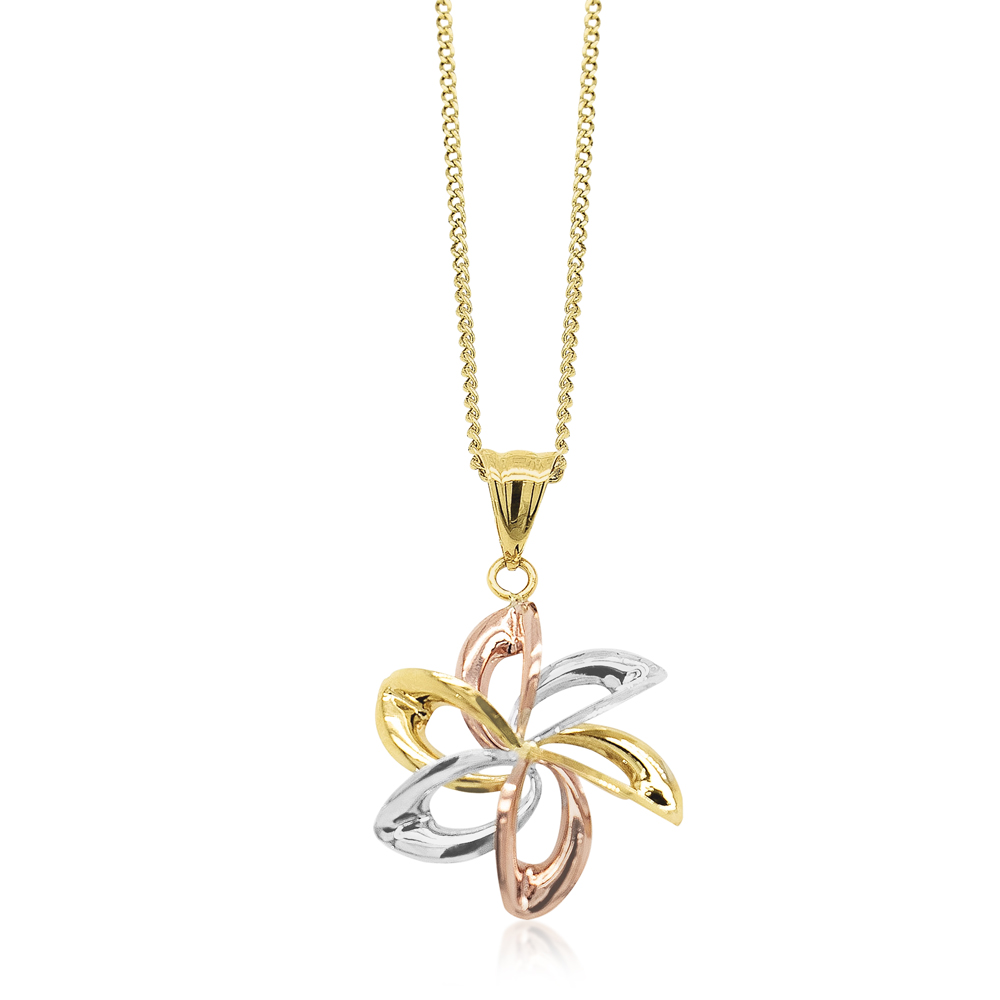 9ct Three-Tone Gold Flower Cutout Pendant