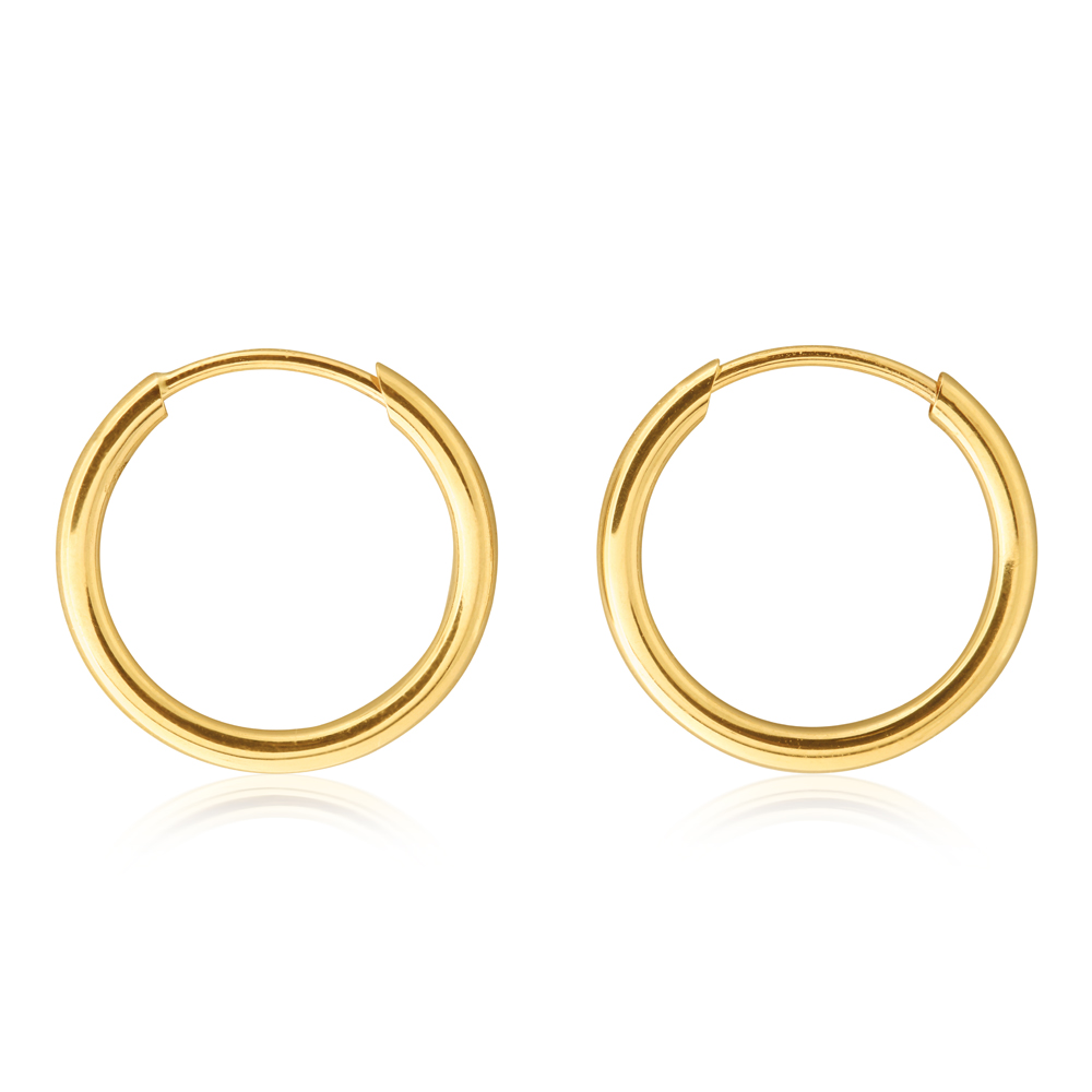 9ct Yellow Gold 13mm Plain Sleeper Earrings