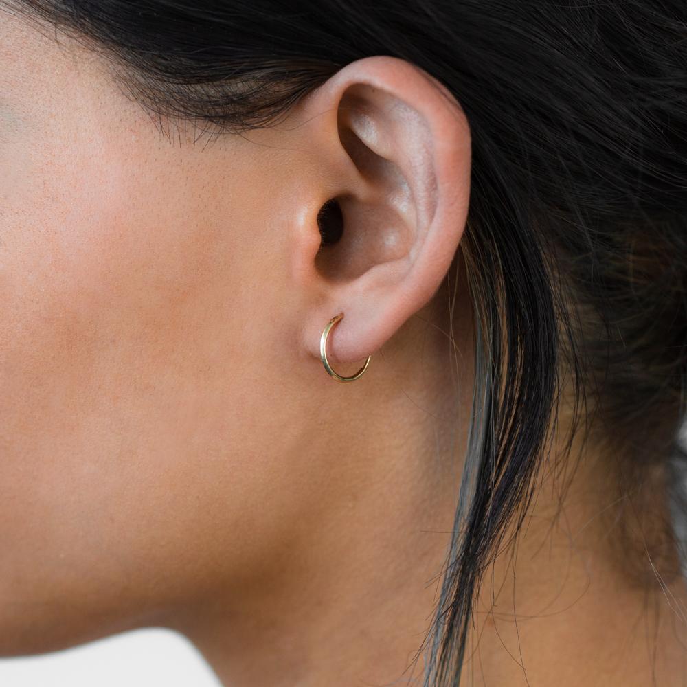 9ct Yellow Gold 13mm Plain Sleeper Earrings