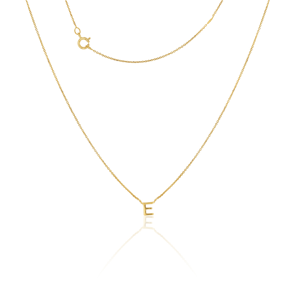 """9ct Yellow Gold Initial """"E"""" Pendant On 43cm Chain"""