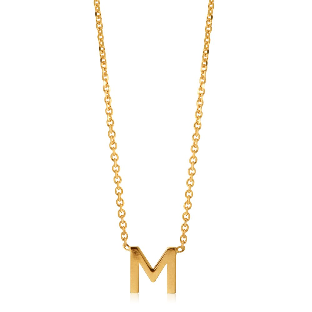 """9ct Yellow Gold Initial """"M"""" Pendant on 43cm Chain"""