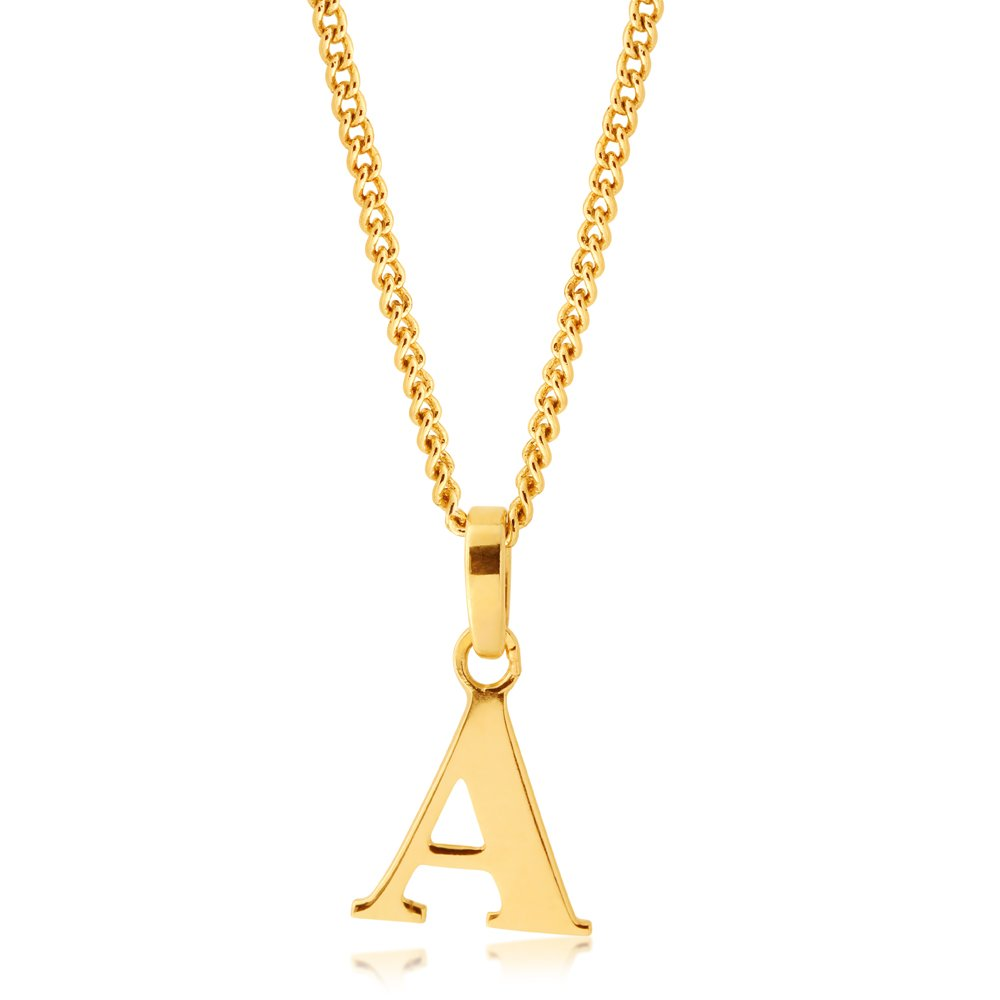 9ct Yellow Gold Letter A Pendant