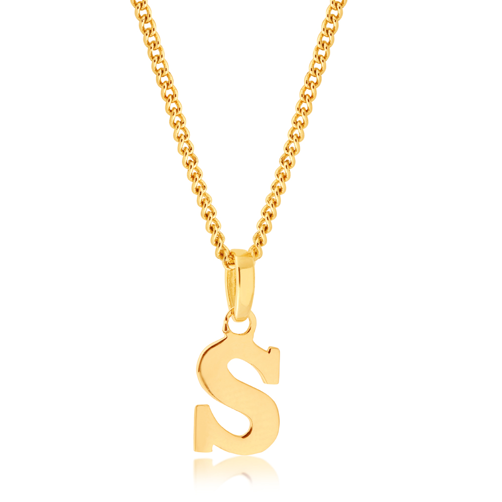9ct Yellow Gold Letter S Pendant