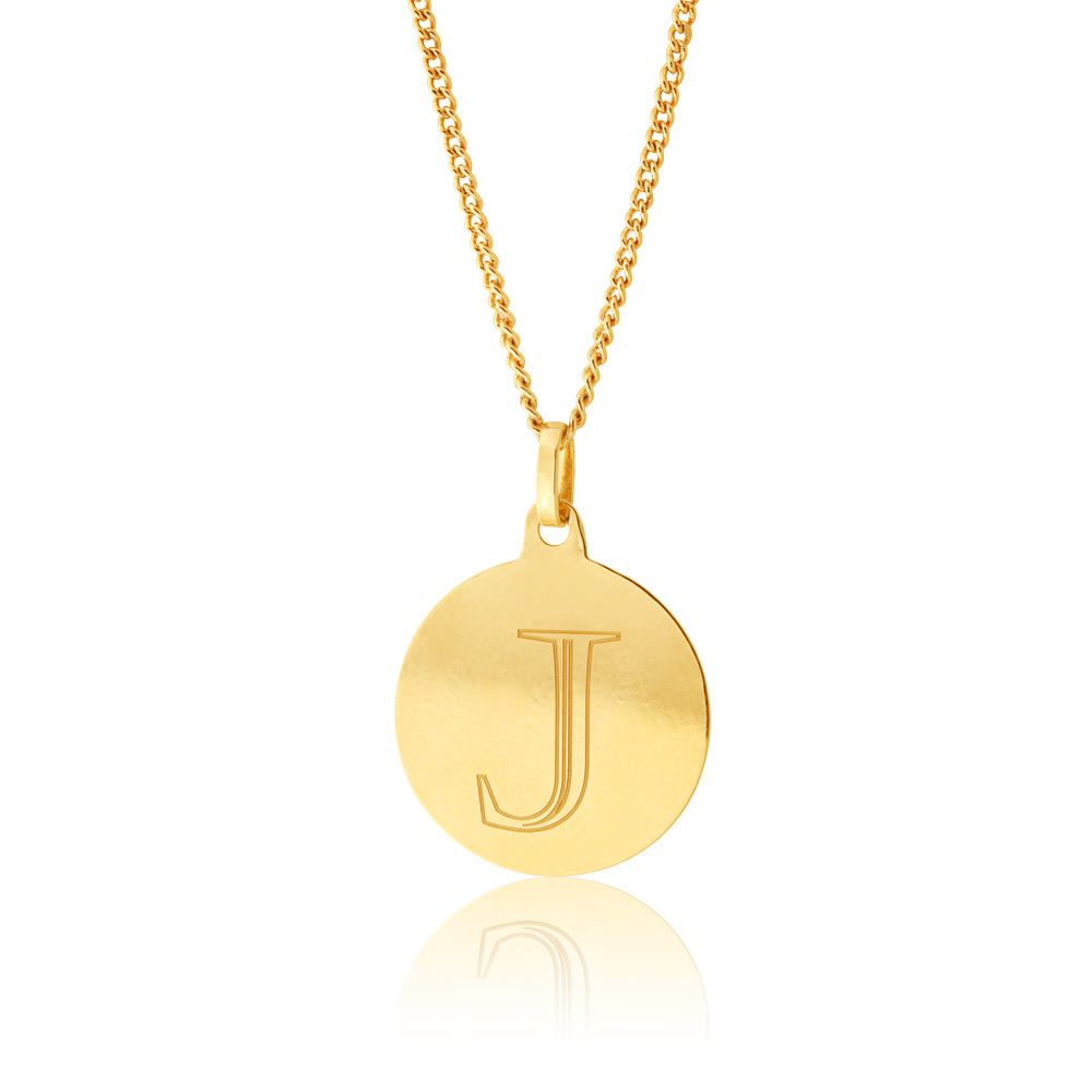 9ct Yellow Gold Charm Letter J Pendant