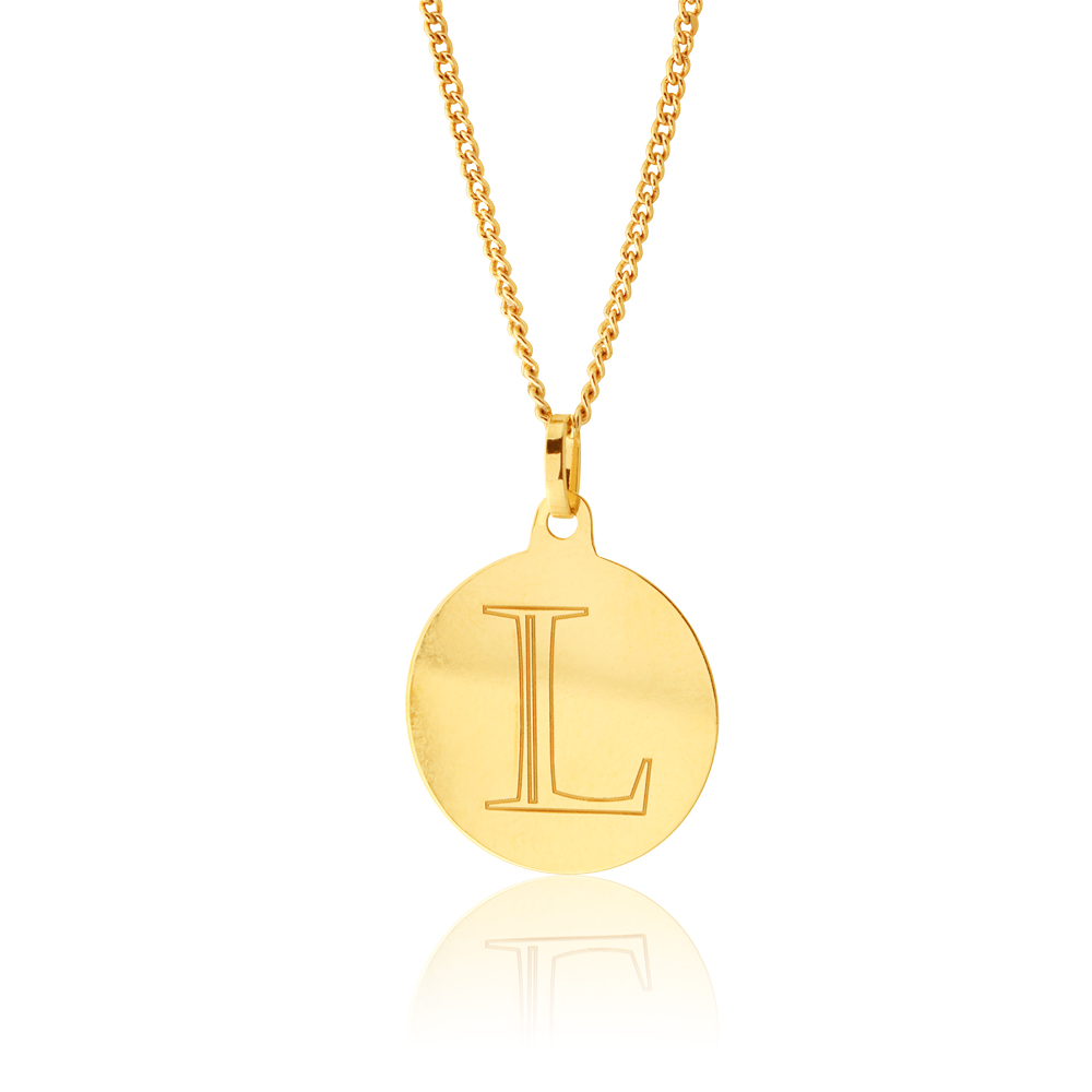 9ct Yellow Gold Charm With Letter L Pendant