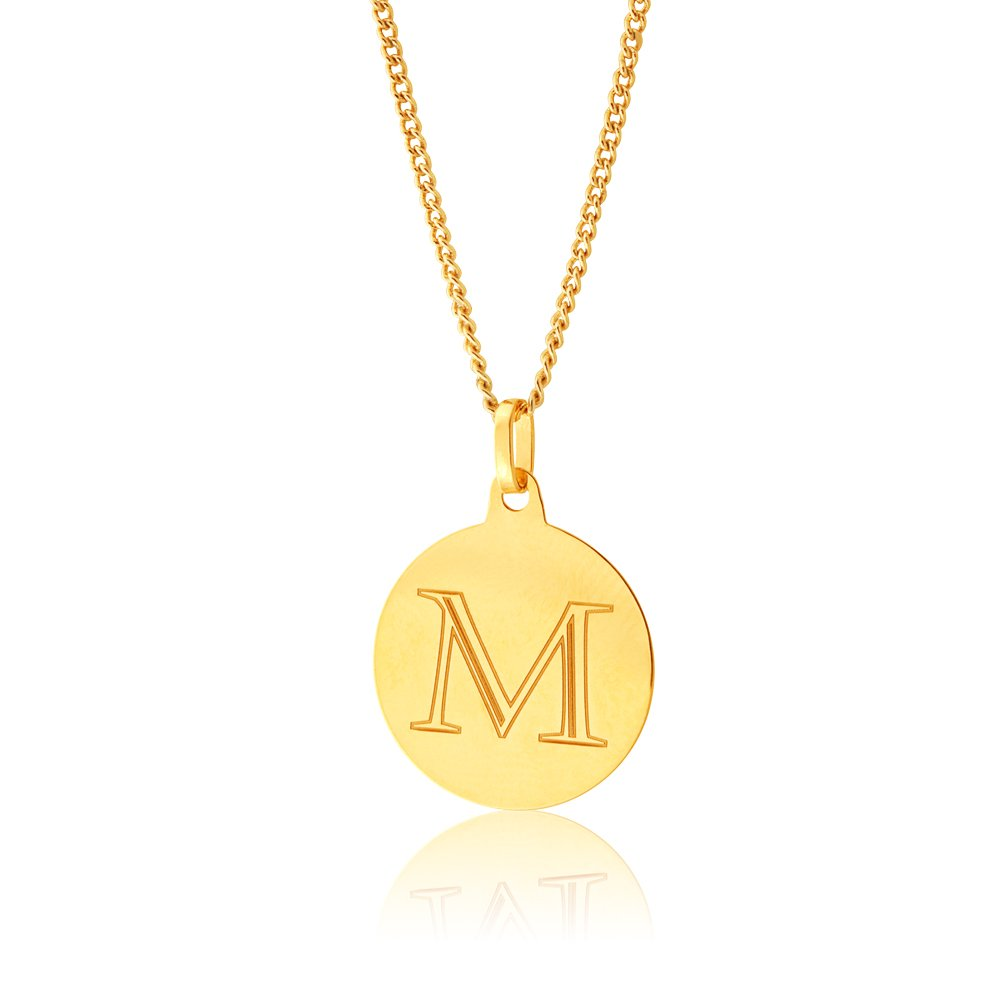 9ct Yellow Gold Charm With Initial M Pendant