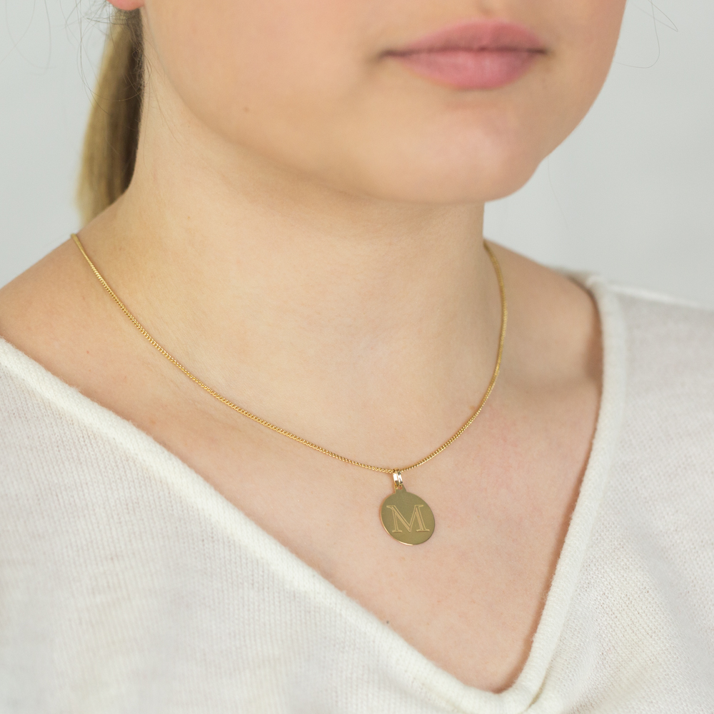 """9ct Yellow Gold Charm With Initial """"M"""" Pendant"""