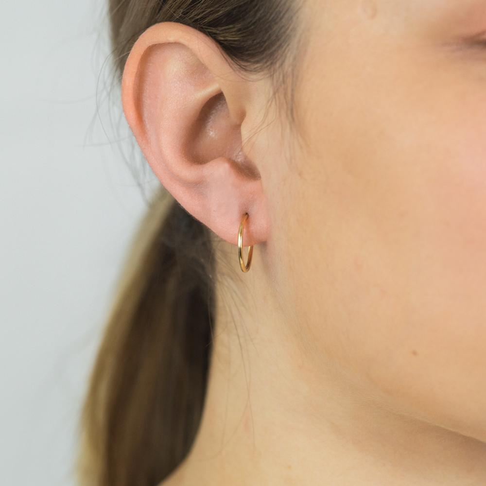 9ct Yellow Gold 1.2x14mm Hinged Hoop Earrings