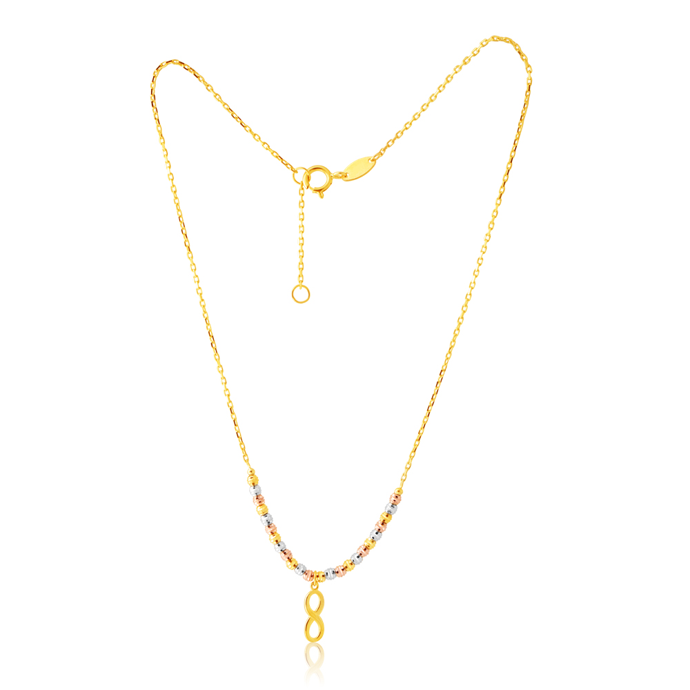 9 ct Gold  Figaro Infinity 27cm Anklet