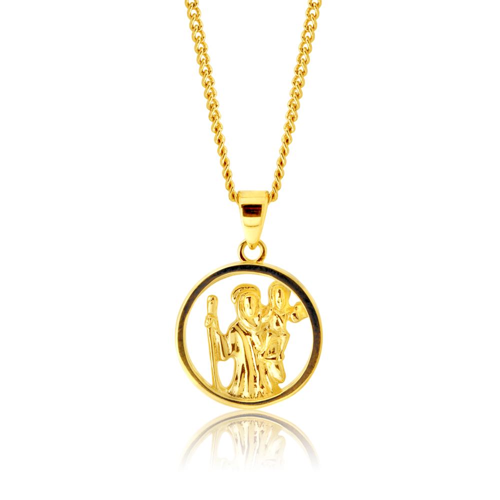 9ct Yellow Gold Saint Christopher Pendant