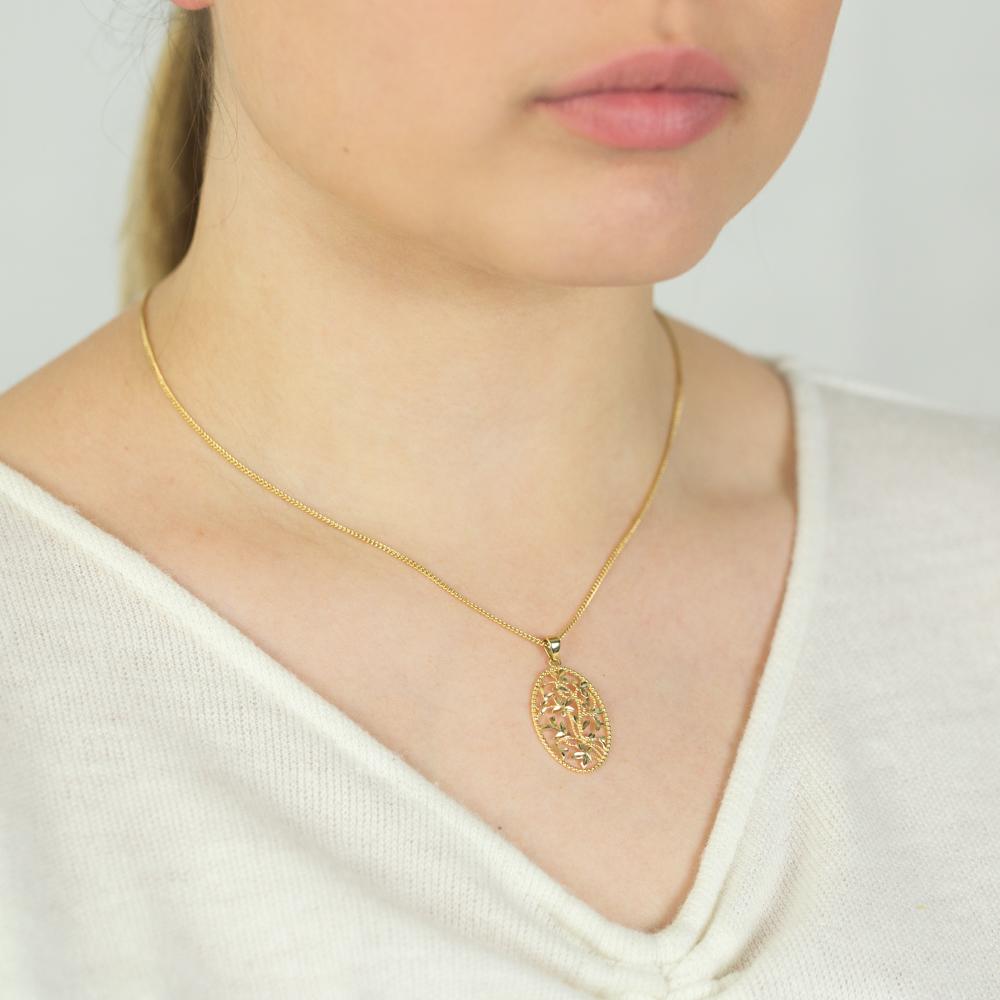 9ct Yellow Gold Diamond Cut Flower Pendant