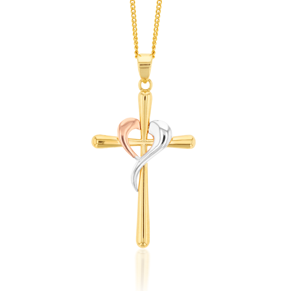 9ct Yellow, Rose And White Gold Crossover On Cross Pendant