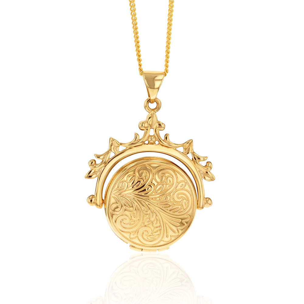 9ct Silverfilled Yellow Gold Spinner Locket Pendant