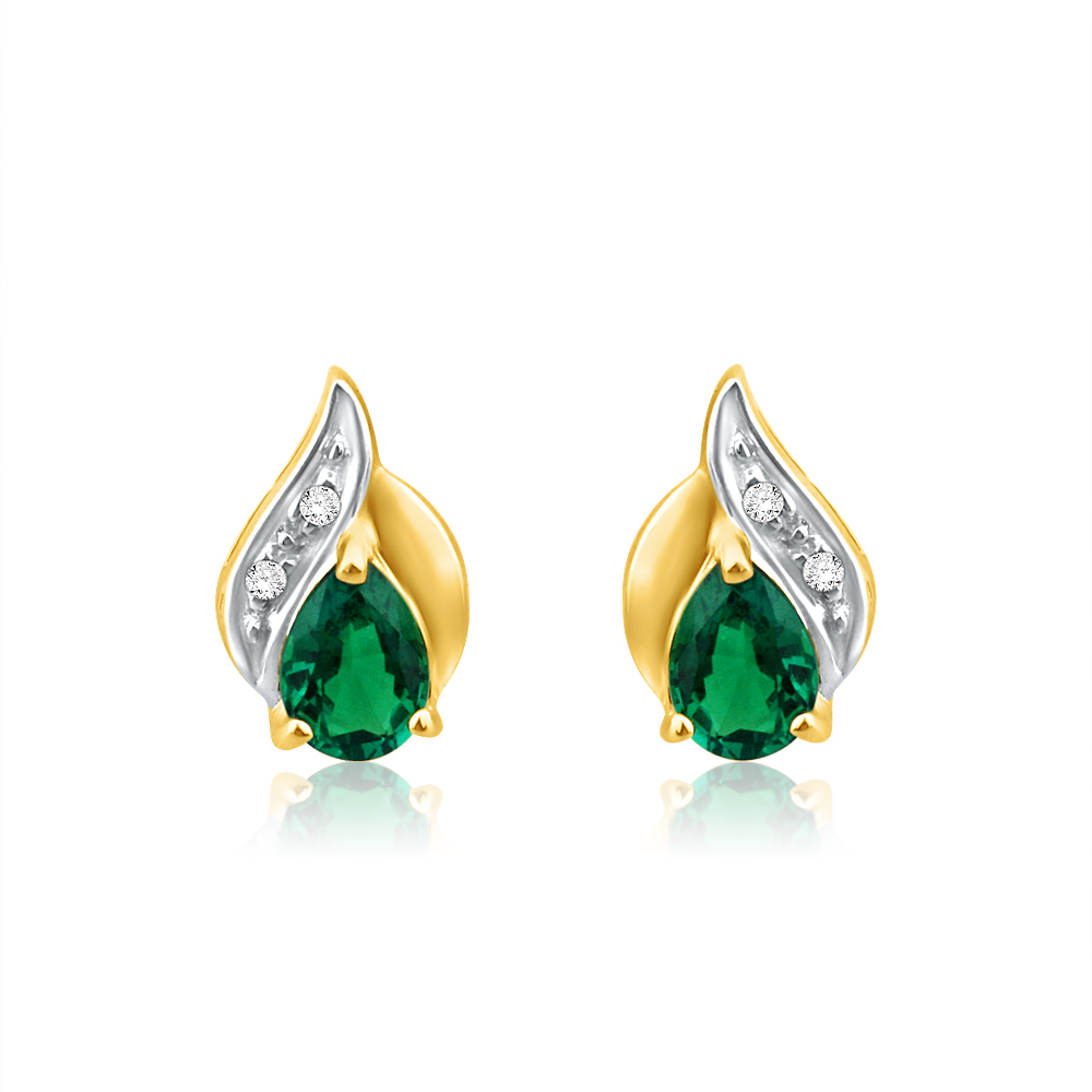 9ct Alluring Yellow Gold Created Emerald + Diamond Stud Earrings