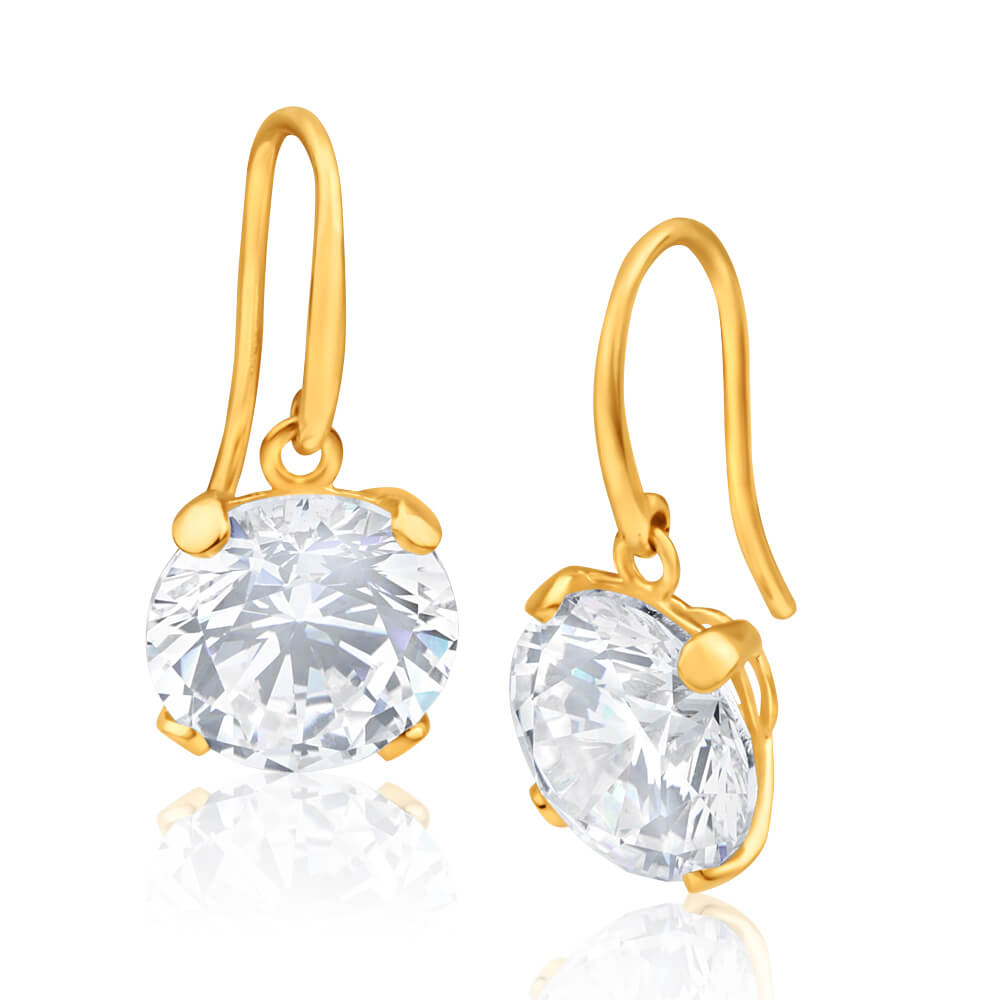 9ct Alluring Yellow Gold Cubic Zirconia 10mm Drop Earrings