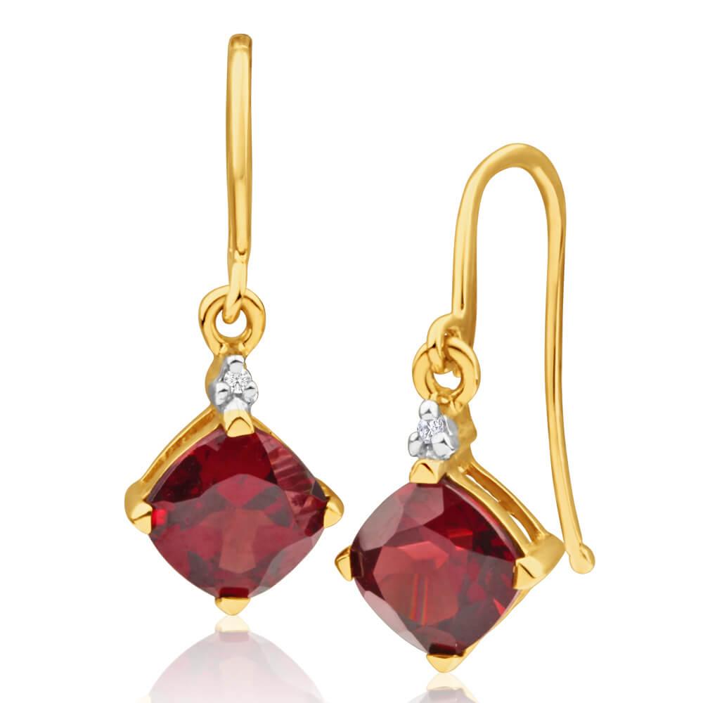 9ct Yellow Gold Garnet and Diamond Drop Earrings