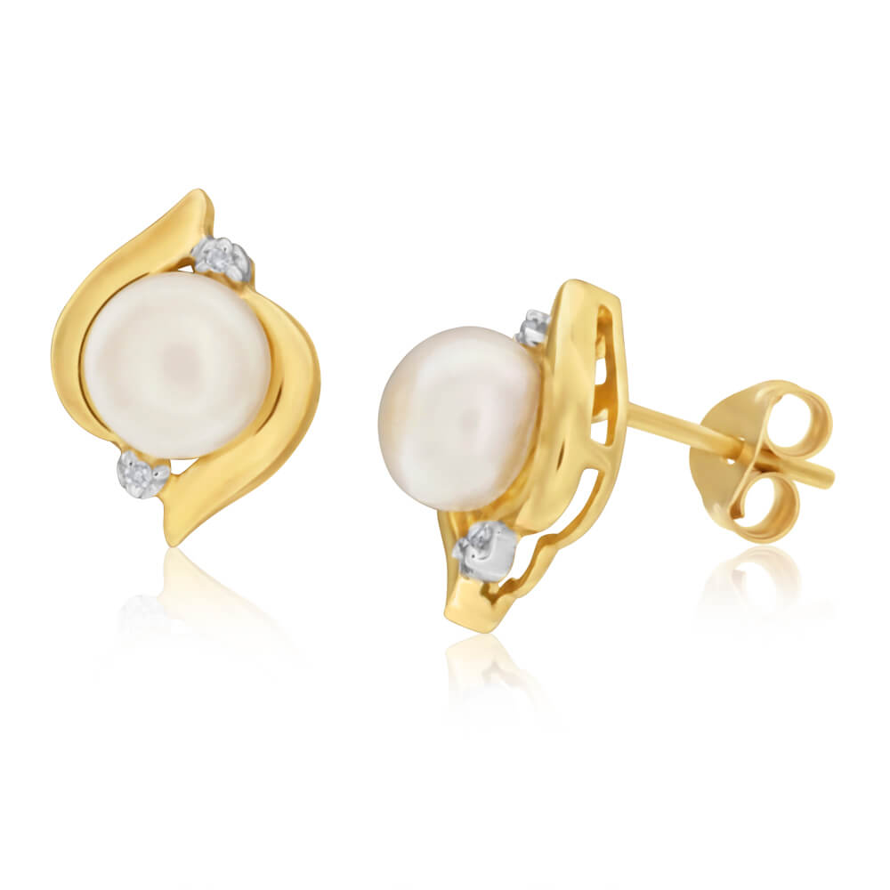 9ct Yellow Gold Freshwater Pearl and Diamond Stud Earrings