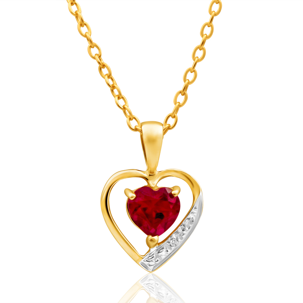 9ct Alluring Yellow Gold Created Ruby + Diamond Pendant