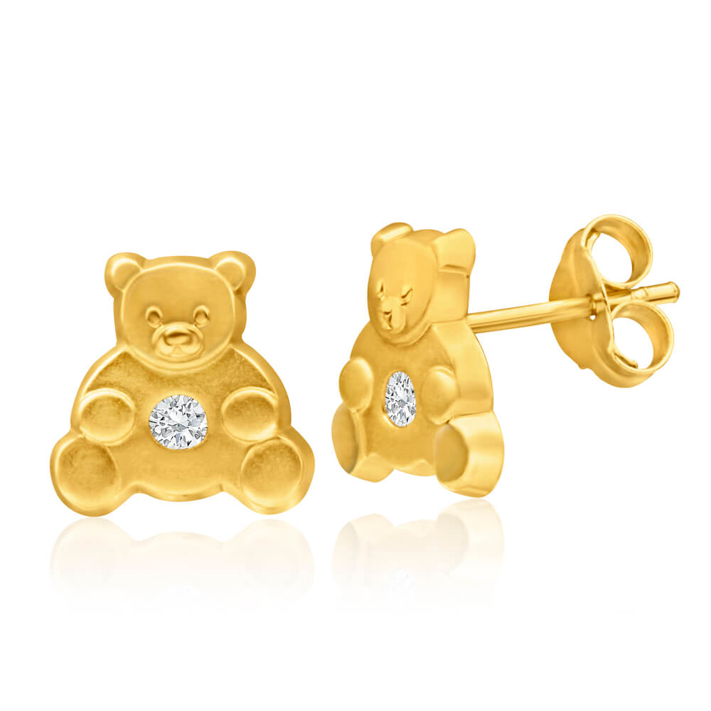 9ct Yellow Gold Cubic Zirconia Teddy Bear Stud Earrings