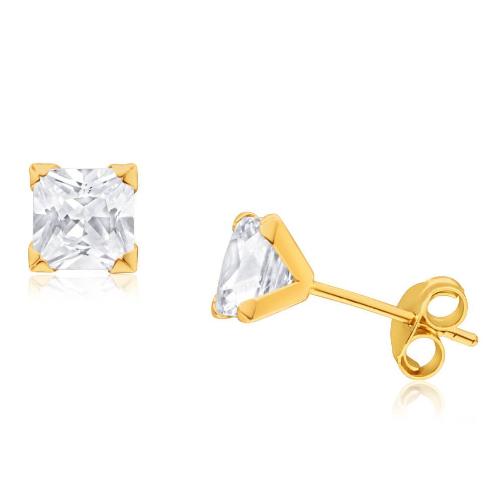 9ct Yellow Gold Cubic Zirconia 5mm Princess Cut Stud Earrings