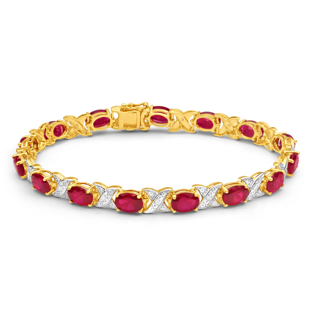 9ct Yellow Gold Created Ruby + Diamond 19CM Bracelet