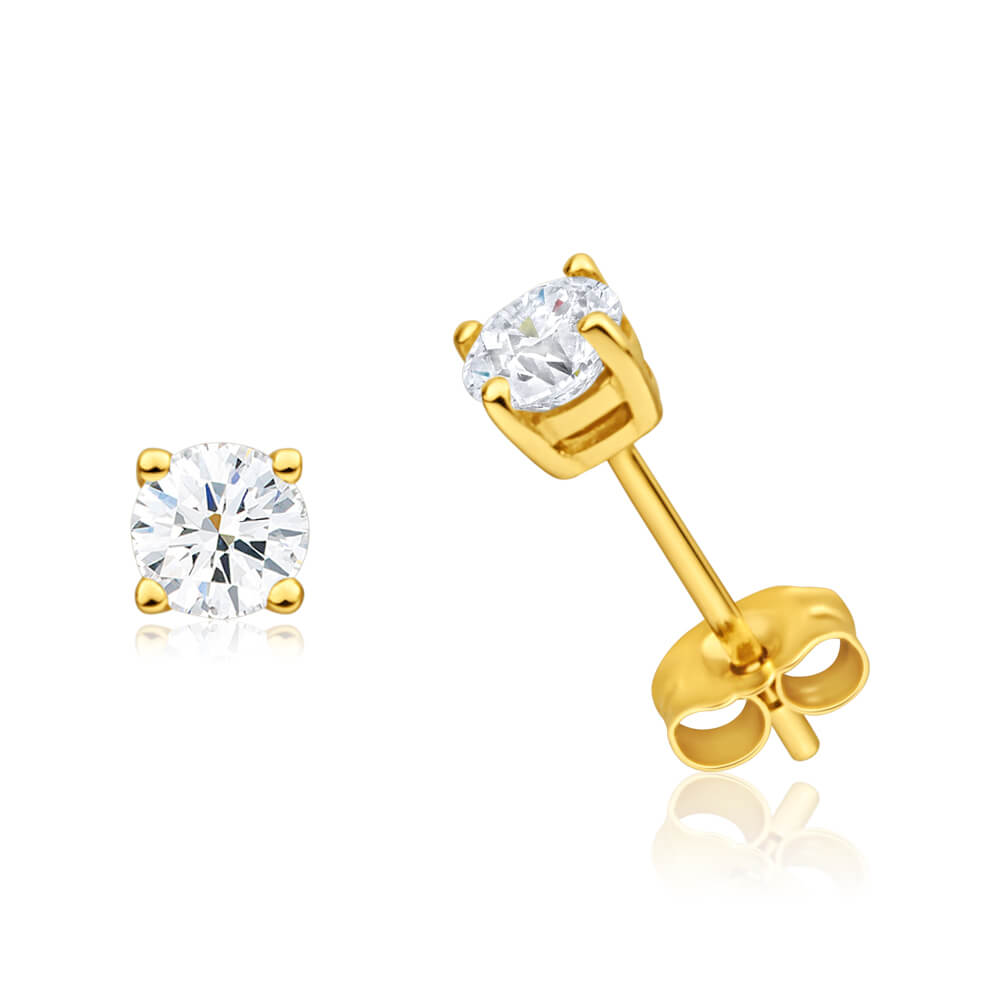 9ct Yellow Gold White Topaz Stud Earrings