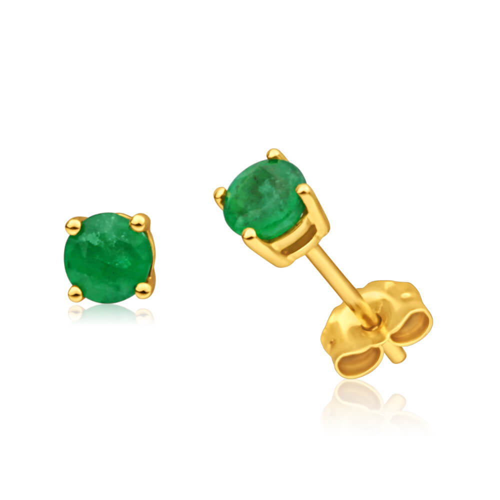 9ct Yellow Gold 4mm Emerald Stud Earrings