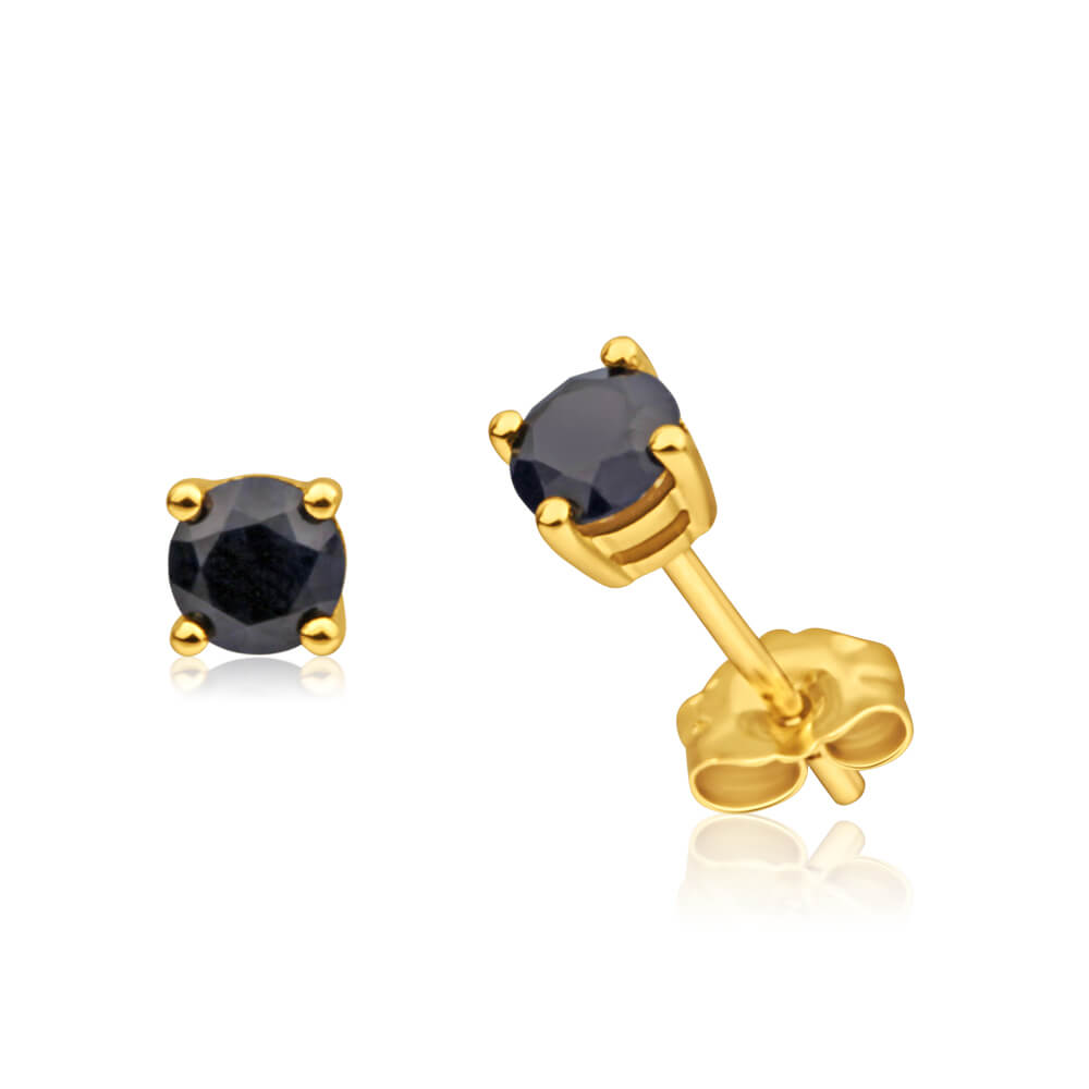 9ct Yellow Gold Natural Sapphire 4mm Stud Earrings