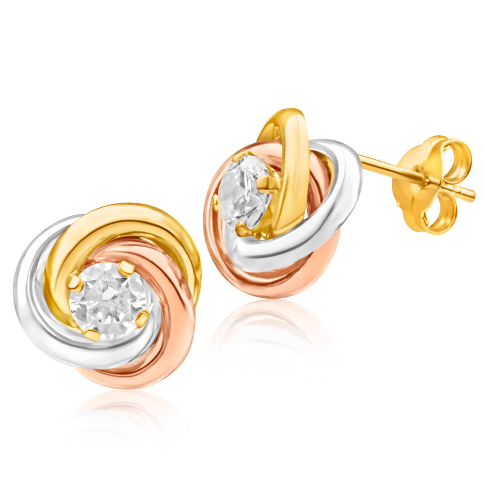 9ct Gold 3 Tone 4mm Cubic Zirconia Knot Stud Earrings