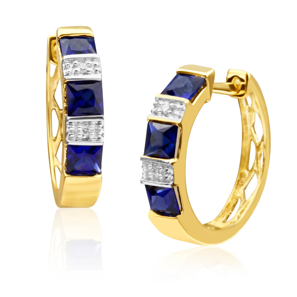 9ct Yellow Gold Created Sapphire + Diamond Hoop Earrings