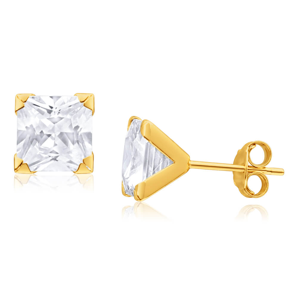 9ct Yellow Gold Cubic Zirconia 7mm Princess Cut Stud Earrings