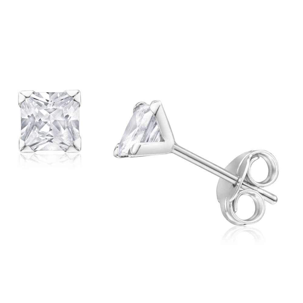 9ct White Gold Princess Cut 4mm Cubic Zirconia Stud Earrings