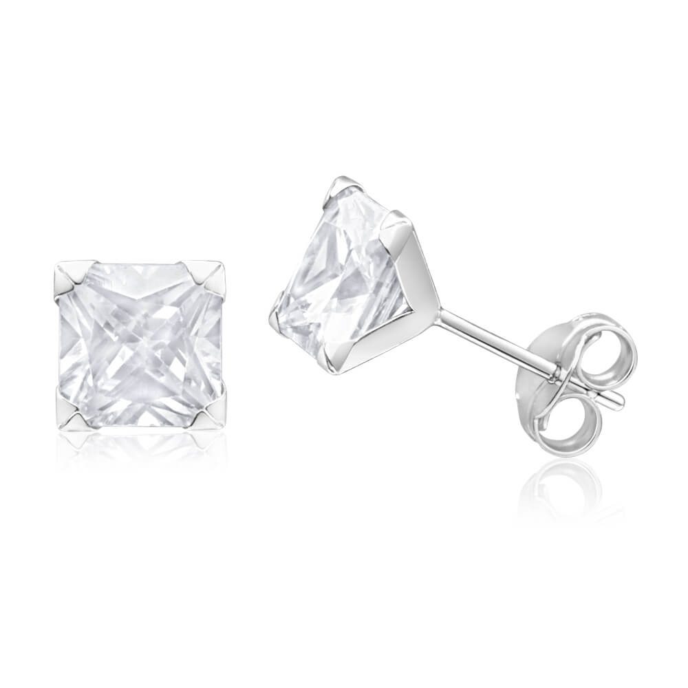 9ct White Gold Princess Cut 6mm Cubic Zirconia Stud Earrings