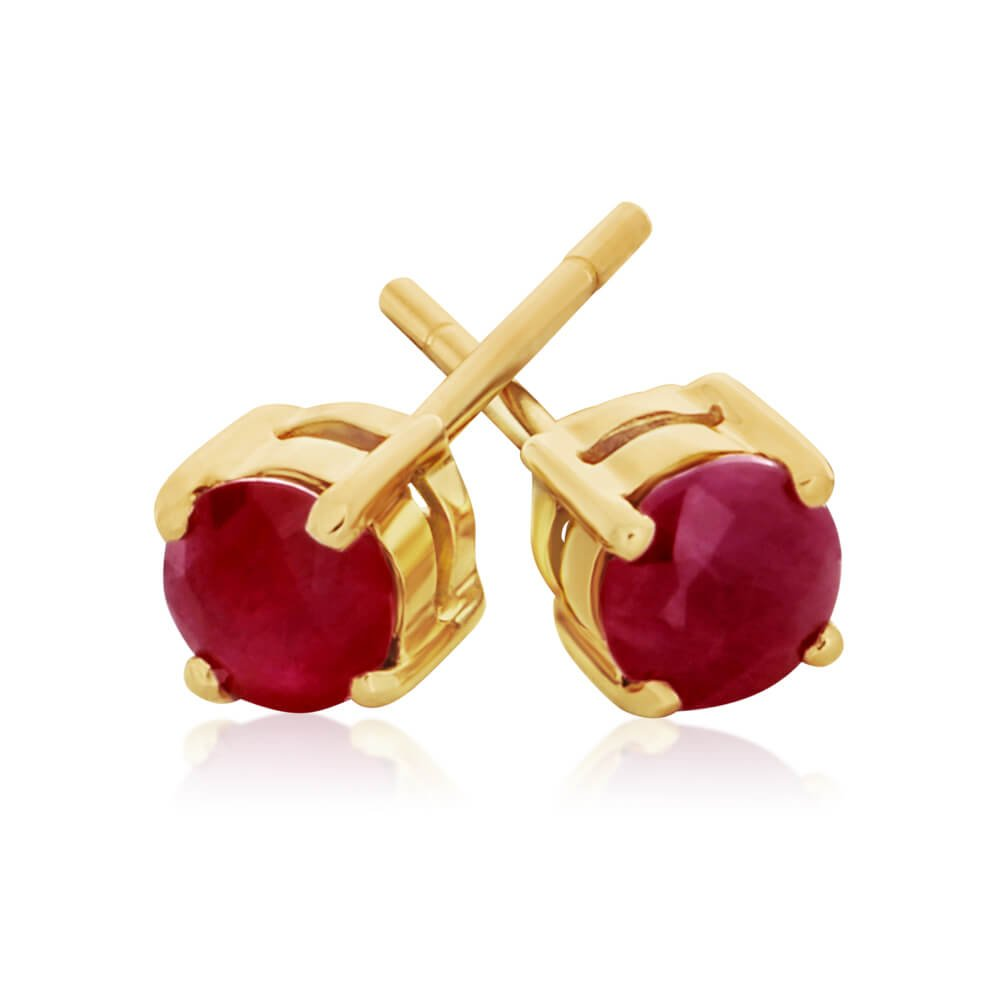 9ct Charming Yellow Gold Ruby Stud Earrings