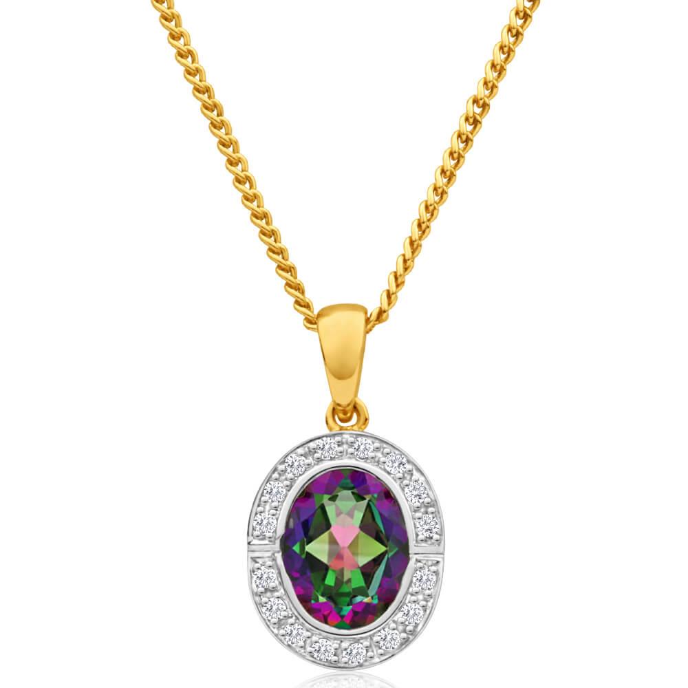 9ct Yellow Gold Mystic Topaz & Diamond Halo Pendant
