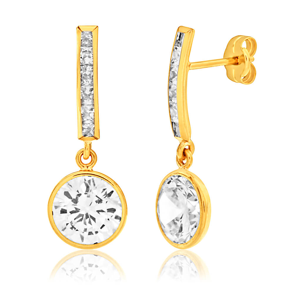 9ct Yellow Gold Round Cubic Zirconia Drop Earrings