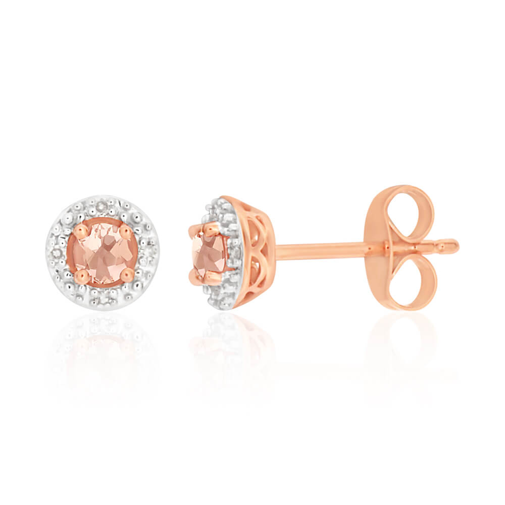9ct Rose Gold Morganite 3mm + Diamond Halo Stud Earrings