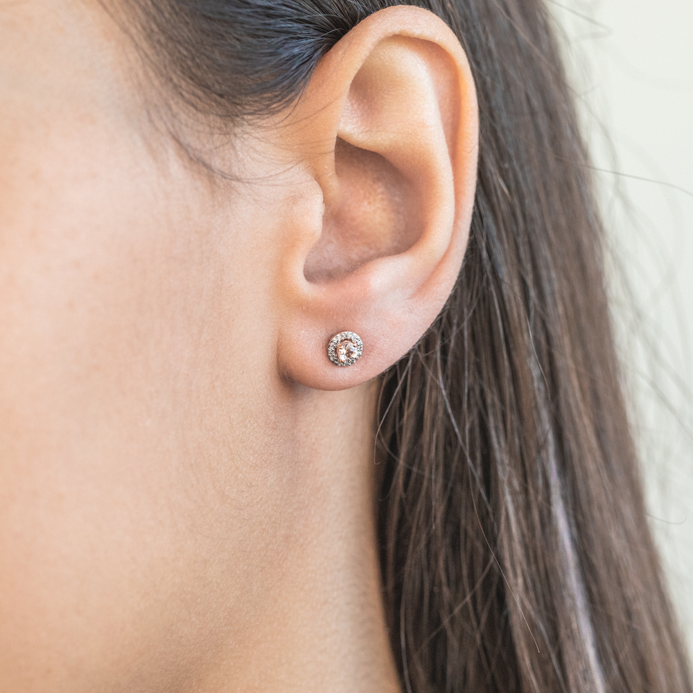9ct Rose Gold 3mm Morganite and Diamond Halo Stud Earrings