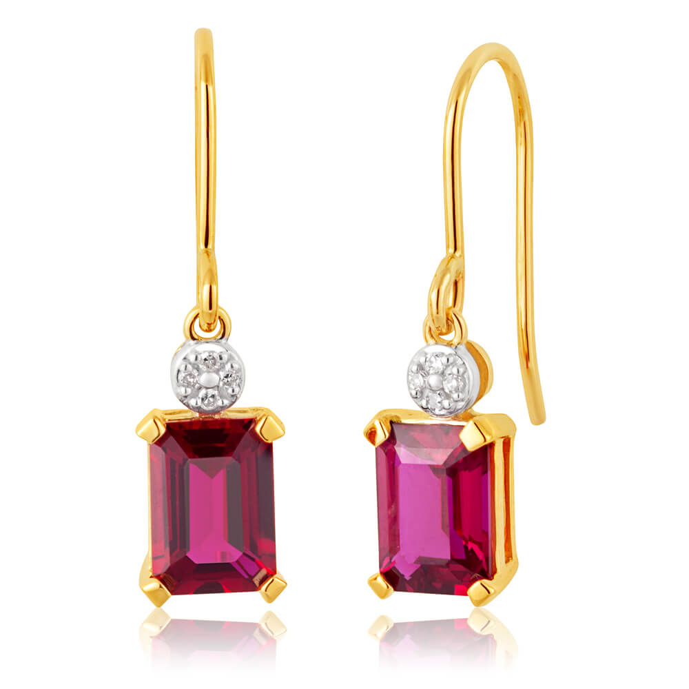 9ct Yellow Gold Created Ruby 7x5mm and Diamond Drop Earrings