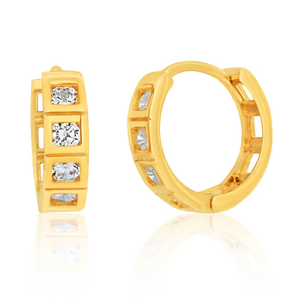 9ct Yellow Gold 10mm Cubic Zirconia Huggie Earrings