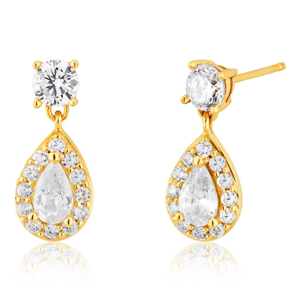 9ct Yellow Gold Cubic Zirconia Teardrop Stud Earrings