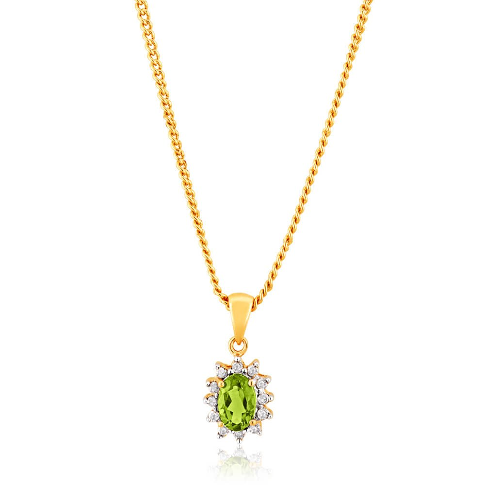 9ct Yellow Gold Diamond and Peridot Pendant