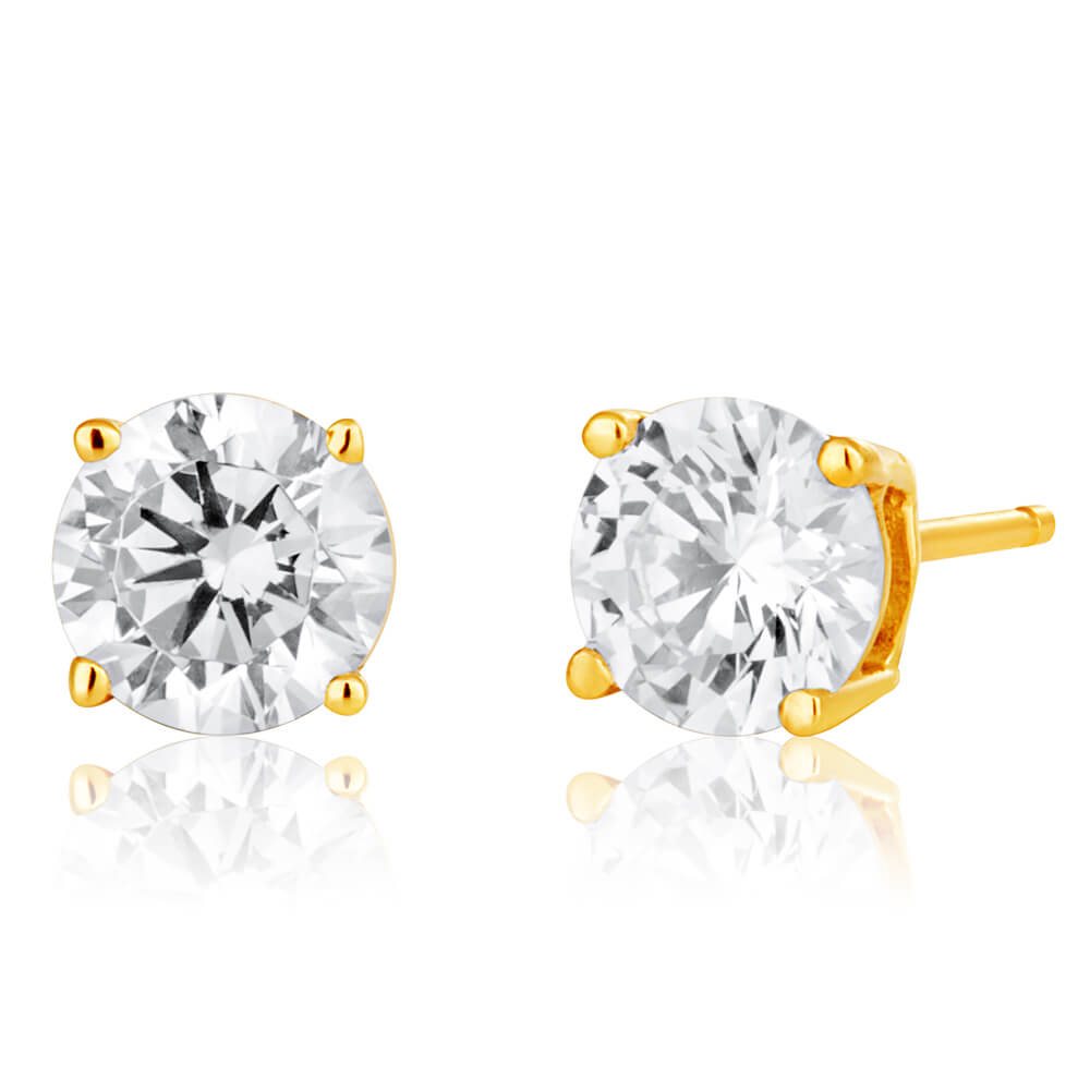 9ct Yellow Gold Cubic Zirconia Brilliant Cut 5mm Stud Earrings