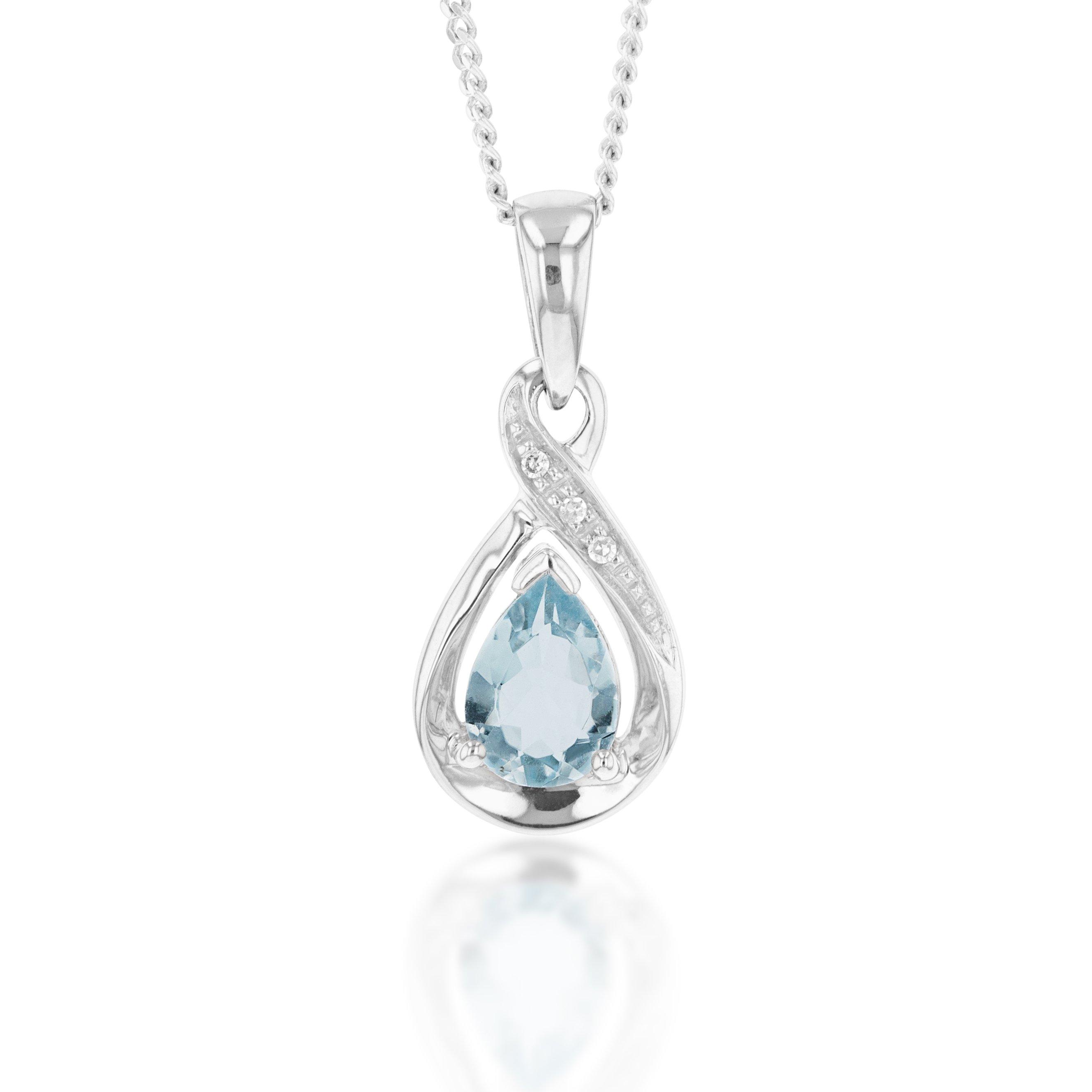 9ct White Gold Pear Shaped Aquamarine + Diamond Pendant