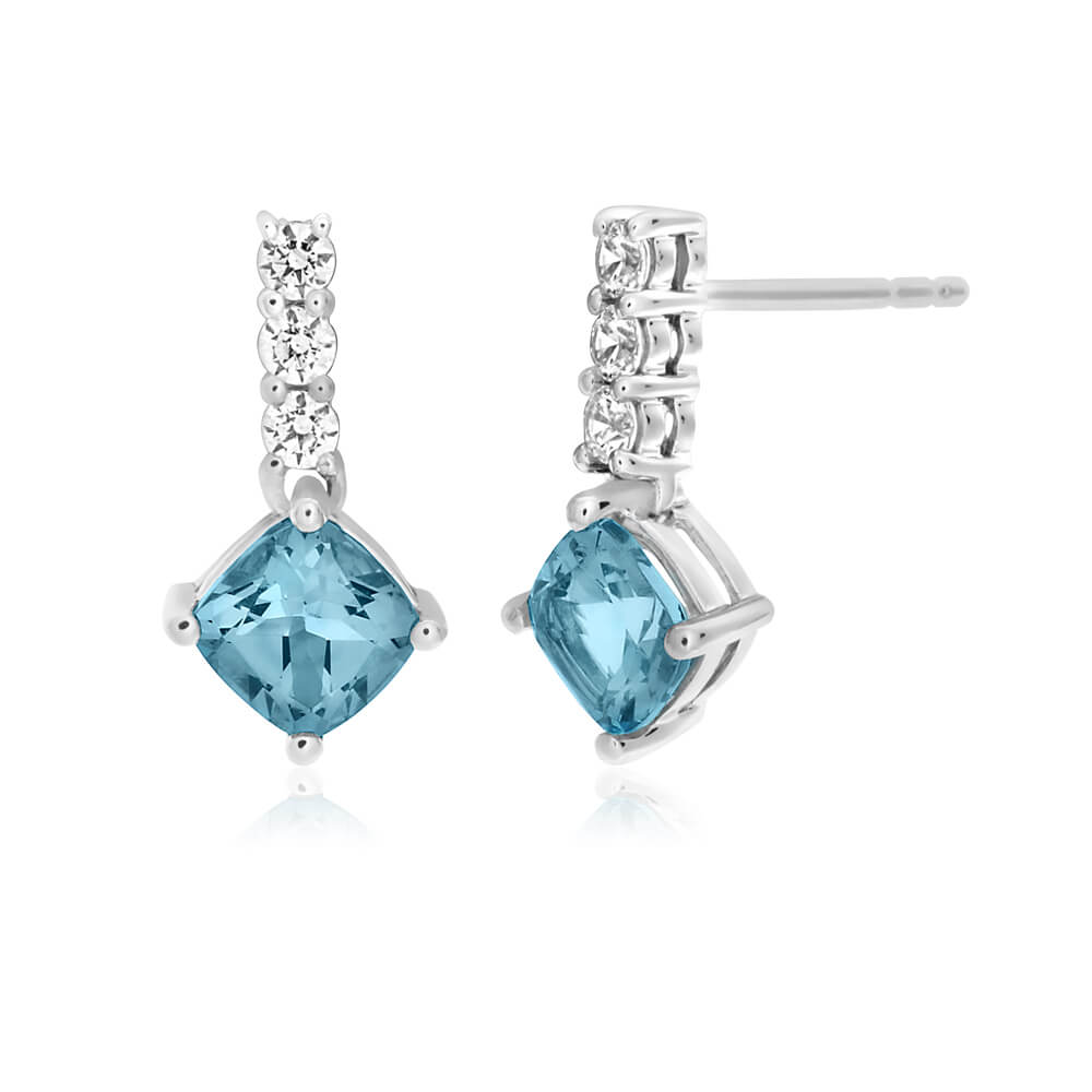 9ct White Gold Blue Topaz and Zirconia Drop Earrings